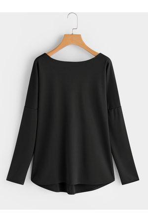 YOINS Crew Neck Long Sleeves Criss Cross Back T-shirt