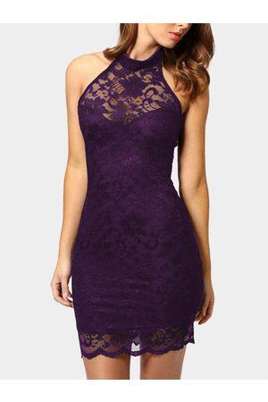 YOINS Backless Design Halter Lace Dress