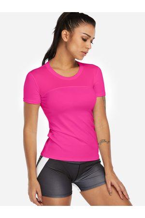 YOINS Rose Plain Crew Neck Short Sleeves Gym Tops