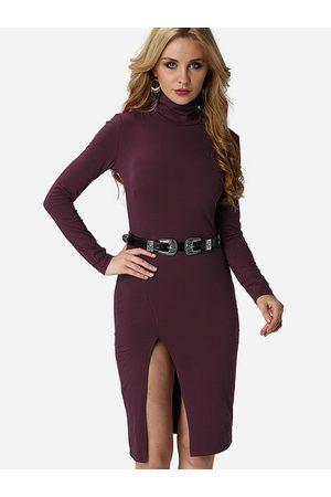 YOINS Women Bodycon Dresses - High Neck Slit Hem Bodycon Dress