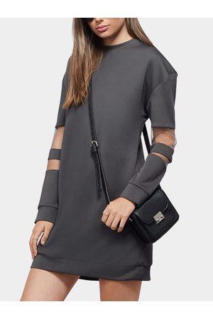 YOINS Women Sweatshirts - Mesh Insert Long Sleeve Sweatshirt Dress in Gray