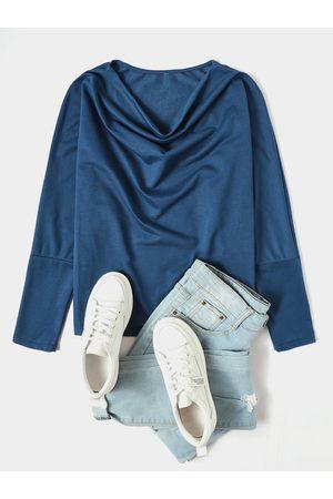 YOINS Blue Bateau Design Long Sleeves Tee