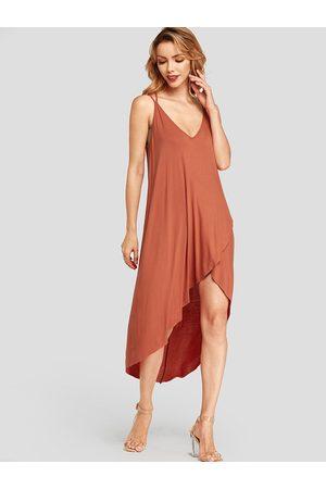 YOINS Spaghetti Strap Deep V-neck Cross Hem Design Sleeveless Dress