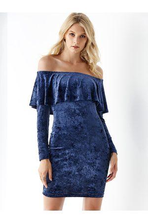 YOINS Velvet Off Shoulder Ruffle Trim Dress