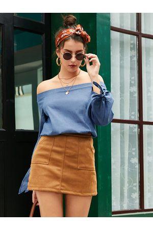 YOINS Blue Lace-up Design Off The Shoulder Long Sleeves Blouse