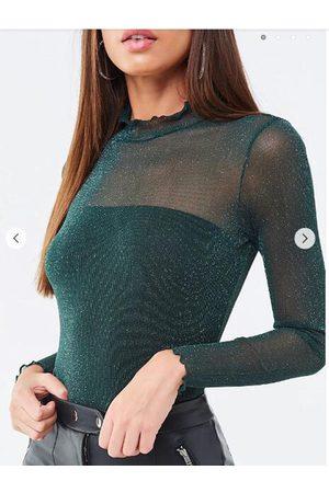 YOINS Green Mesh Glitter Frill Neck Long Sleeves Tee