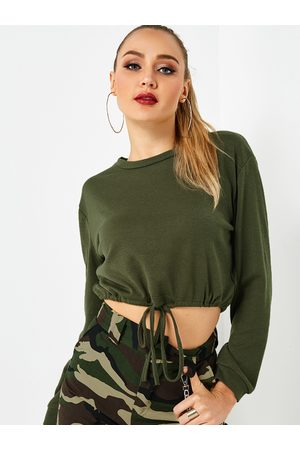 YOINS Self-tie Design Round Neck Long Sleeves Silhouette Crop Top