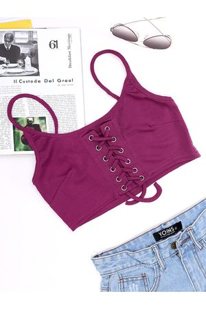 YOINS Rose Pink Scoop Neck Lace-up Design Crop Top