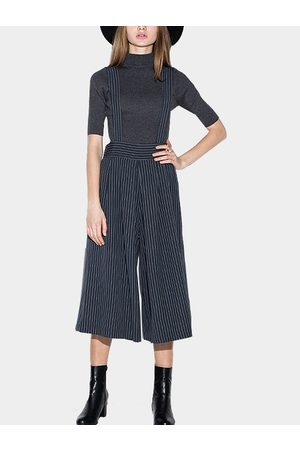YOINS Pin Stripe Cropped Suspender Culottes