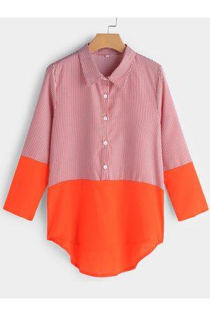 YOINS Women Long Sleeve - Button Design Stripe Classic Collar Long Sleeves Tee