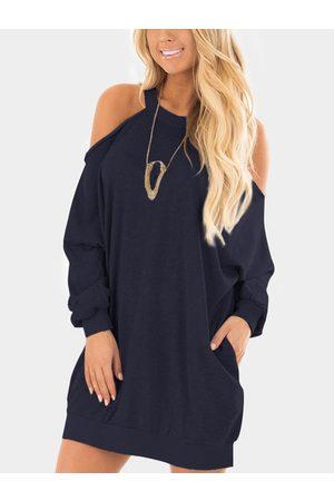 YOINS Women Sweatshirts - Cold Shoulder Long Sleeves Sweatshirt Dress