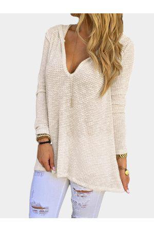 YOINS Hooded Design V-neck Long Sleeves T-shirt