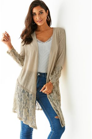 YOINS Women Long Sleeve - Coffee Patchwork Lace Details Open Front Long Sleeves Cardigan