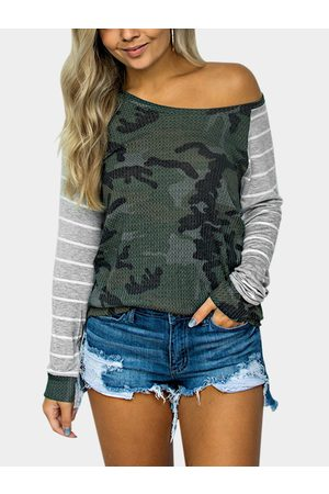 YOINS Camouflage One Shoulder Stripe Long Raglan Sleeves T-shirts