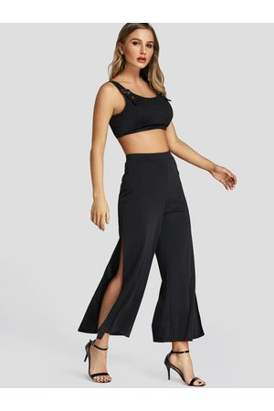 YOINS Round Neck Tank Top & Slit Design Trousers Co-ord