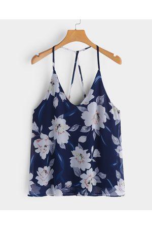 YOINS Navy Spaghetti Floral Print V-neck Camis