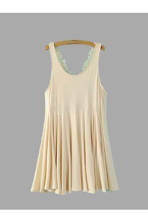YOINS Scoop Neck Sleeveless Cross Lace Strap Mini Dress