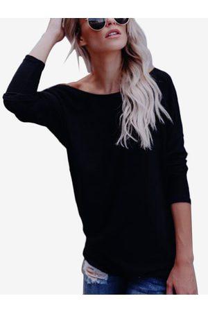 YOINS Women Long Sleeve - Backless Design Crew Neck Long Sleeves T-shirt