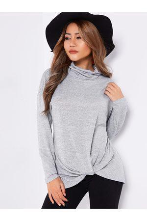 YOINS Crossed Front Design Turtleneck Long Sleeves T-shirt
