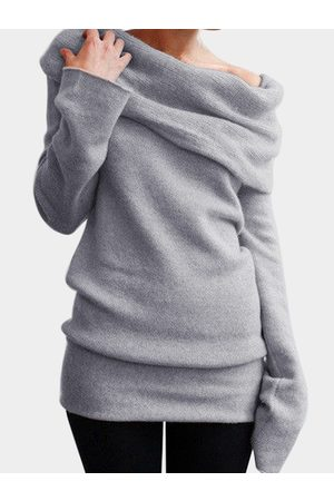 YOINS One Shoulder Long Sleeves Knitted Basic Top