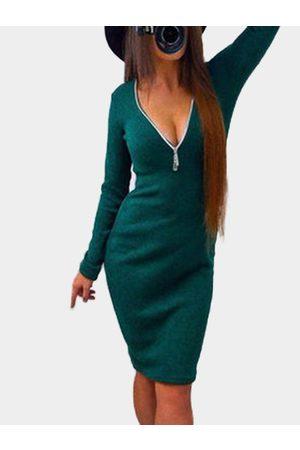 YOINS Atrovirens Zip Design V-neck Long Sleeves Dress