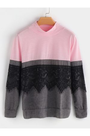YOINS Lace Details Perkins Collar Long Sleeves Contrast Color T-shirts