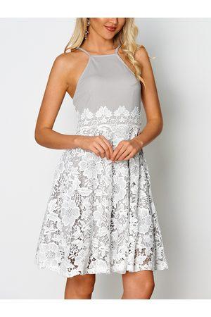 YOINS Lace Insert Halter Sleeveless Mini Dress with Zip Design