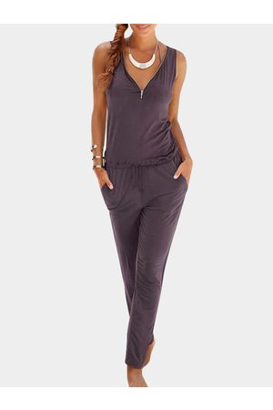 YOINS Purple Zip V-neck Side Pockets Sleeveless Playsuits