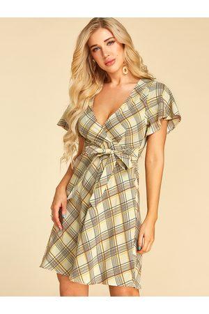 YOINS Apricot Self-tie Design Geometrical Pattern Deep V Neck Dress
