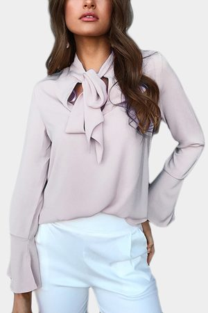 YOINS Self-tie Design Bell Sleeves Chiffon Blouse