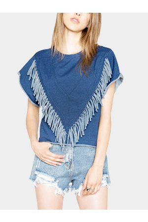 YOINS Bat Sleeves T-shirt with Tassel Details
