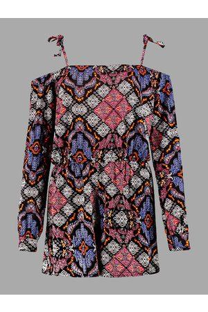YOINS Boho Floral Print Cold Shoulder Long Sleeve Playsuit with Self-tie Shoulder Strap