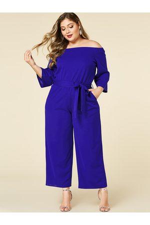 YOINS Plus Size Off The Shoulder Long Sleeves Jumpsuit