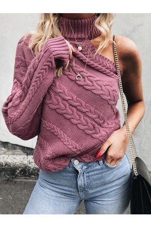 YOINS One Shoulder Cable Knit Sweater
