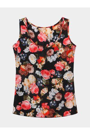 YOINS Black Floral Print Chiffon Tank Top