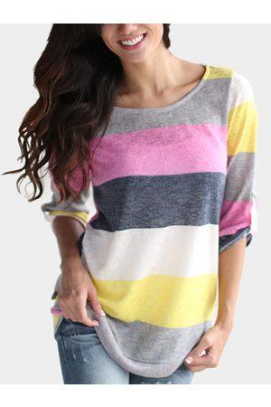 YOINS Random Stripe Pattern Curved Hem Shirt