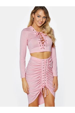 YOINS Lace-up Design Long Sleeves Top And Pleated Design Skirt Two Piece Outfits