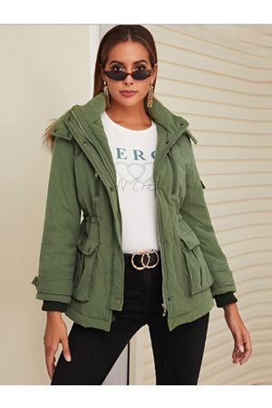 YOINS Army Green Hooded Design Fleece Long Sleeves Coat