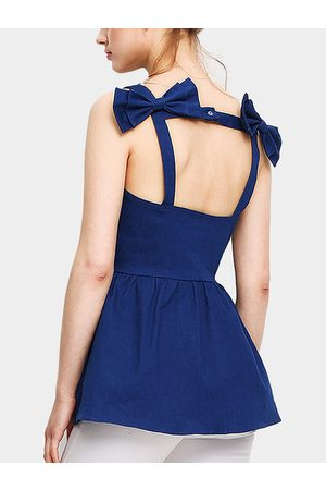 YOINS Backless Double Bowknot at Back Denim Cami Top