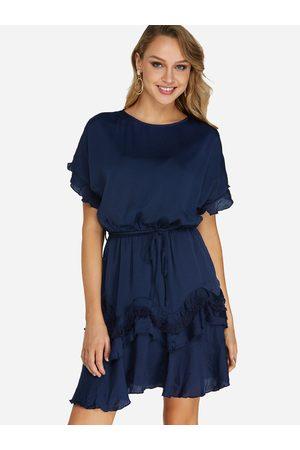 YOINS Women Short Sleeve - Belt Design Round Neck Short Sleeves Stretch Waistband Dress