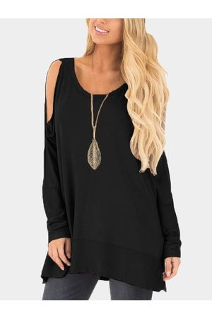 YOINS Women Long Sleeve - Cold Shoulder Cut Out Round Neck Long Sleeves T-shirt