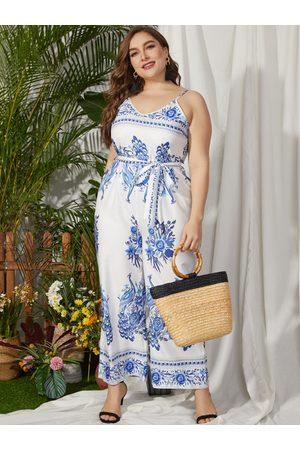 YOINS Women Jumpsuits - Plus Size White Random Floral Print Belt Design Sleeveless Jumpsuit