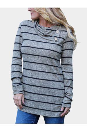 YOINS Women Long Sleeve - Button Design Stripe Drape Sagging Long Sleeves T-shirts