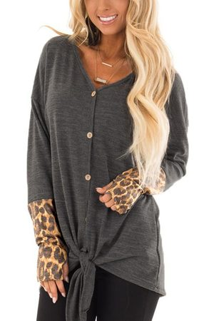 YOINS Color Block Single Breasted & Knot Design Leopard Long Sleeves T-shirts