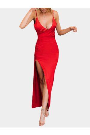 YOINS Women Party Dresses - Sexy Deep V Neck Elastic Shoulder Strap Maxi Party Dress With Slit Hem