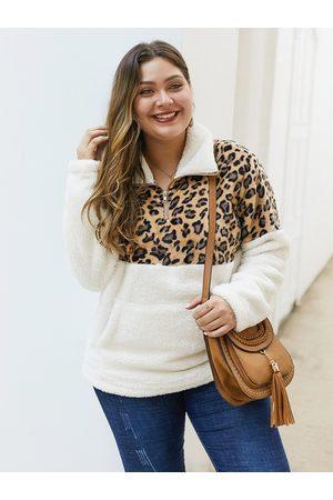 YOINS Women Long Sleeve - Plus Size Side Pockets Leopard Long Sleeves Teddy Sweatshirt