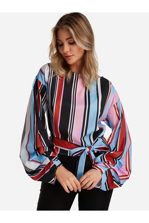 YOINS Women Blouses - Stripe Self-tie Design Round Neck Lantern Sleeves Blouses
