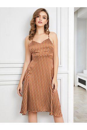 YOINS Women Midi Dresses - Brown Backless Design Polka Dot V-neck Sleeveless Dress