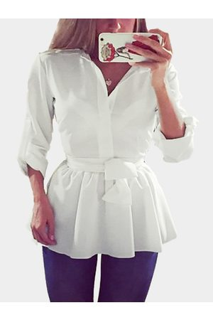 YOINS White See-through Cross Strap Shirt Dress with Self-tie Design