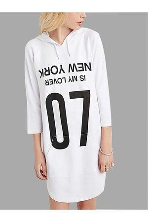 YOINS Boyfriend Style Hooded Text Longline Sweatshirt